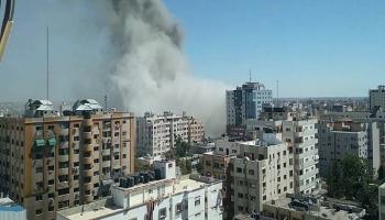 قصف برج في غزة