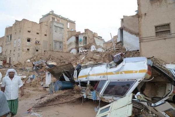 جانب من أضرار السيول في تريم - حضرموت