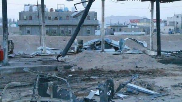 آثار القصف على محطة وقود بمأرب في 6 يونيو 2021