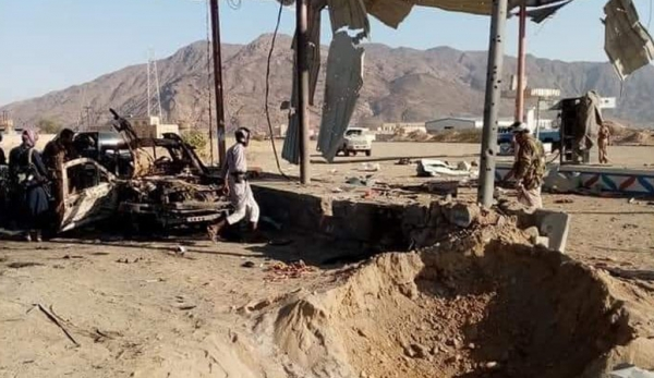 استهداف الحوثيين لمحطة وقود في الجوبة - تويتر